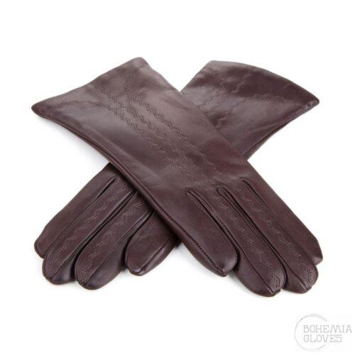Hnědé kožené rukavice - BOHEMIA GLOVES